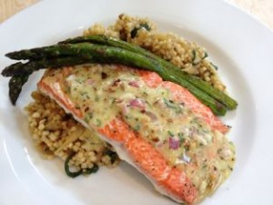 Baked Salmon with Almond Tarragon Vinaigrette