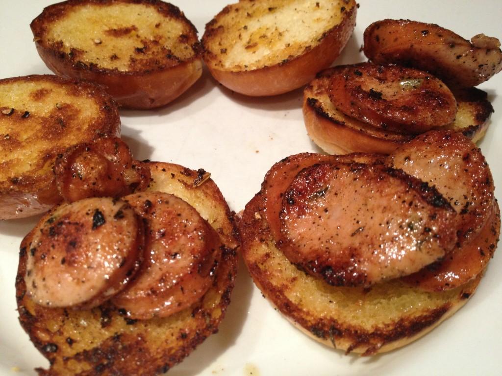 Sausage topped brioche