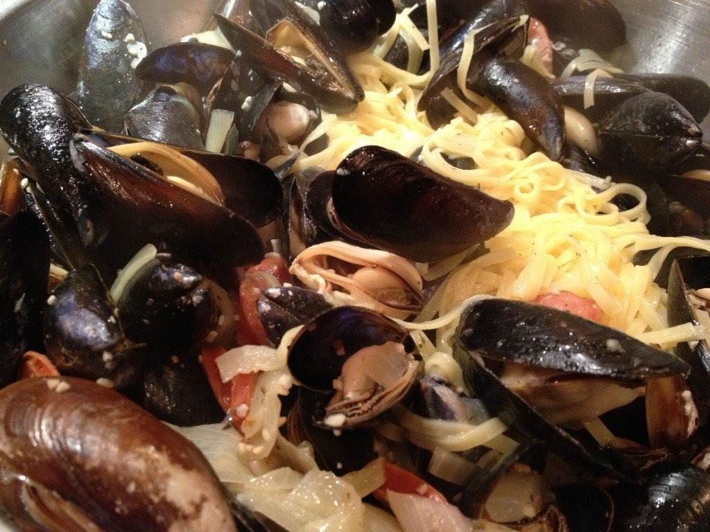 Shellfish and Sausage Linguini