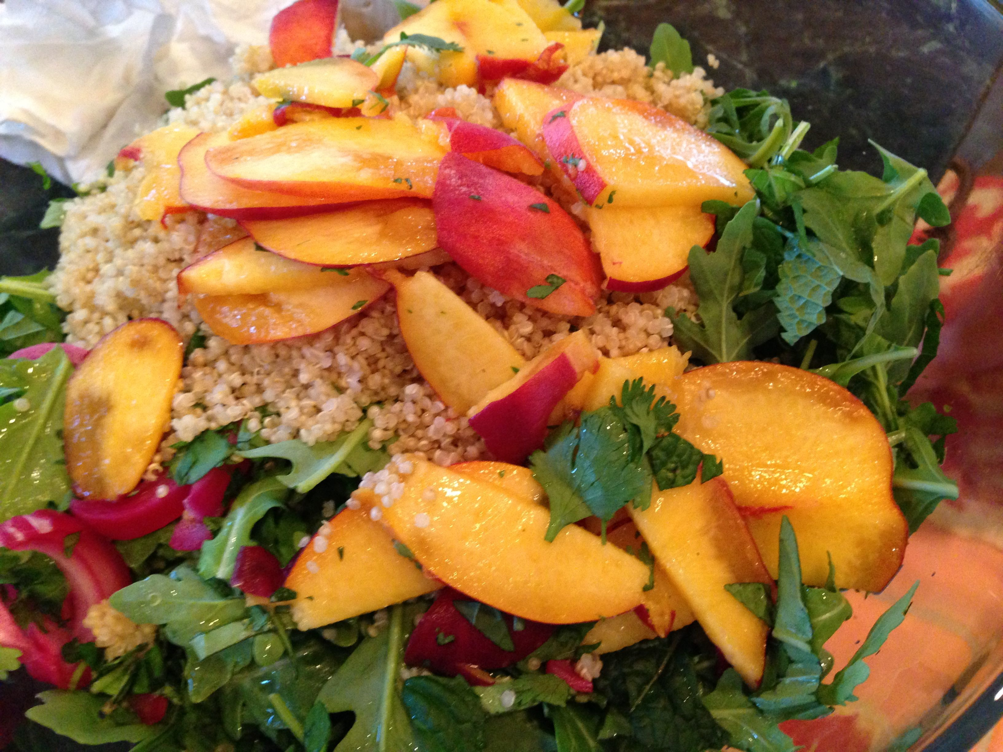 Quinoa Salad with Cool Peaches & Spicy Shrimp | The Brown ...
