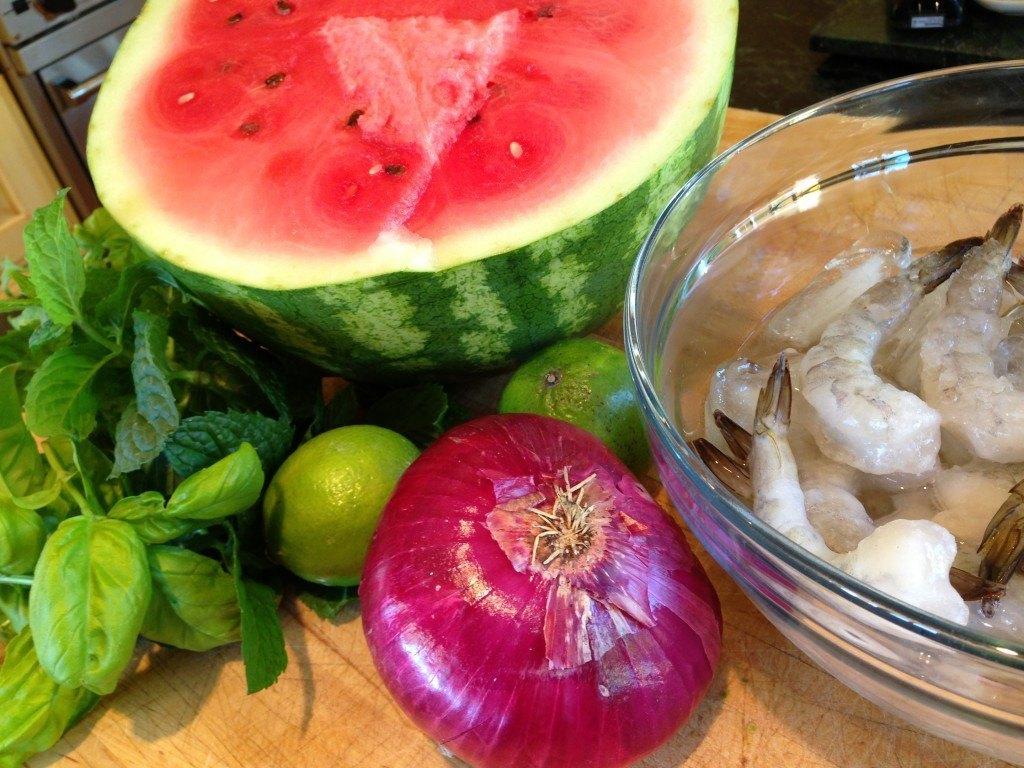Grilled Watermelon & Prawn Skewers