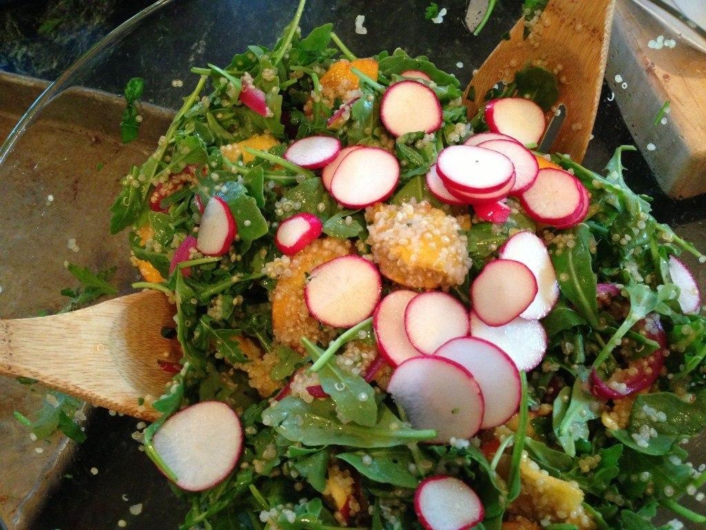 Quinoa Salad with Cool Peaches & Spicy Shrimp
